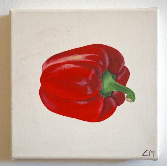 Red pepper acrylic painting on good quality canvas bright for Red canvas painting ideas