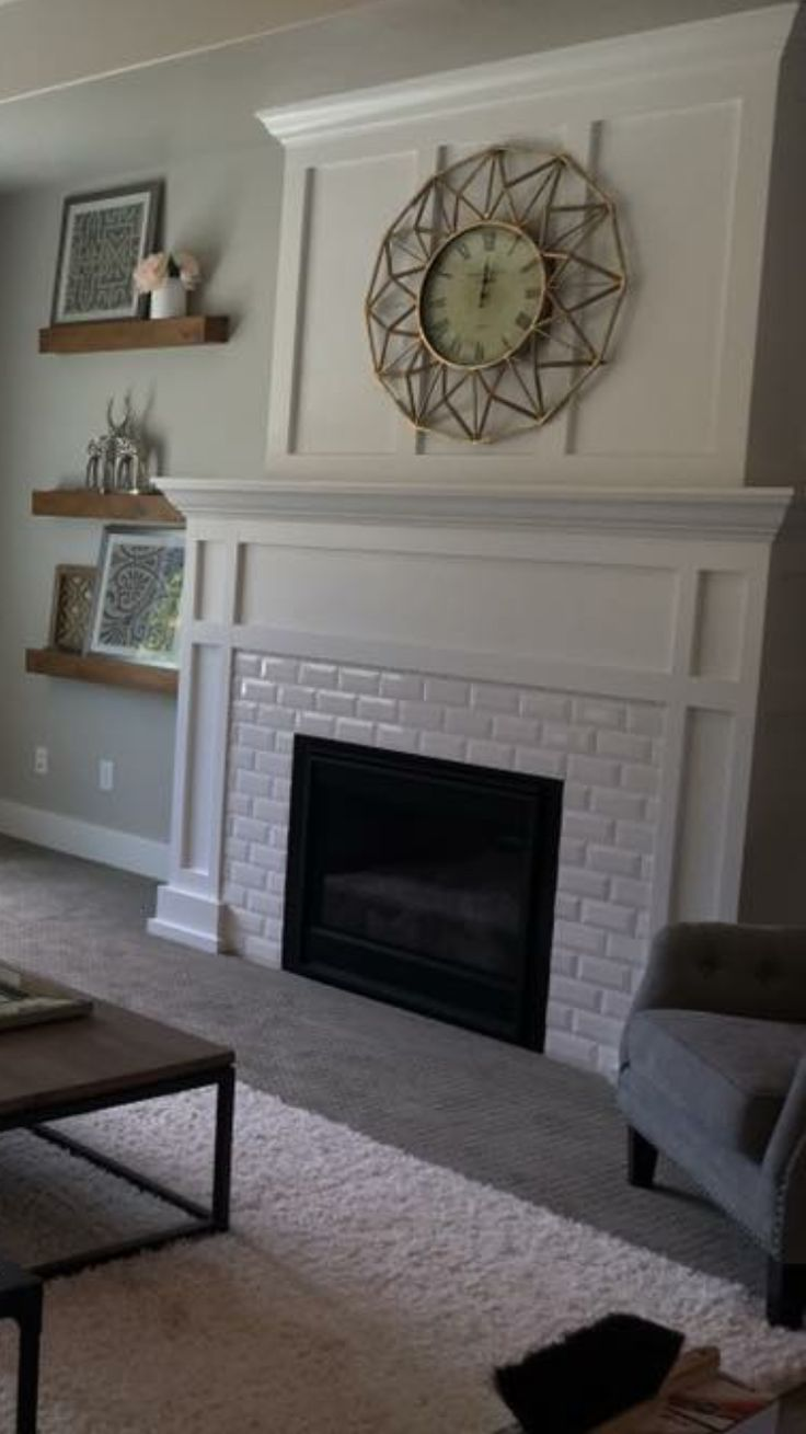 White subway tile fireplace with craftsman mantel. ❤️LOVE❤️