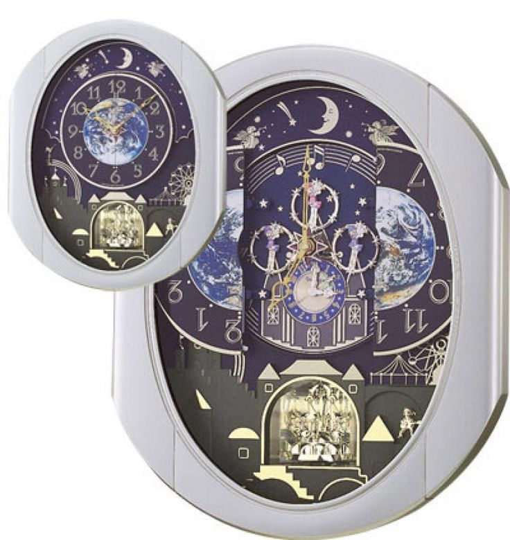 Rhythm Peaceful Cosmos Entertainer Musical Wall Clock Quartz Including  Holiday Melodies