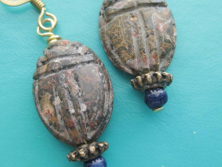 SCARAB EARRINGS Leopard Jasper and Lapis Lazuli Ancient Egypt