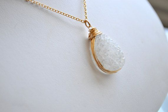 White druzy and gold teardrop pendant necklace by starrydreams