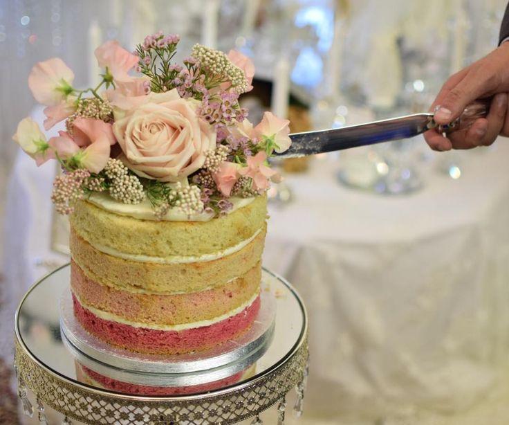 Gorgeous Naked Rainbow Cake By Roseandcakeofficial Weddingcake Nakedcake Rainbowcake Roses Pinkroses Engagementcake Engagementring