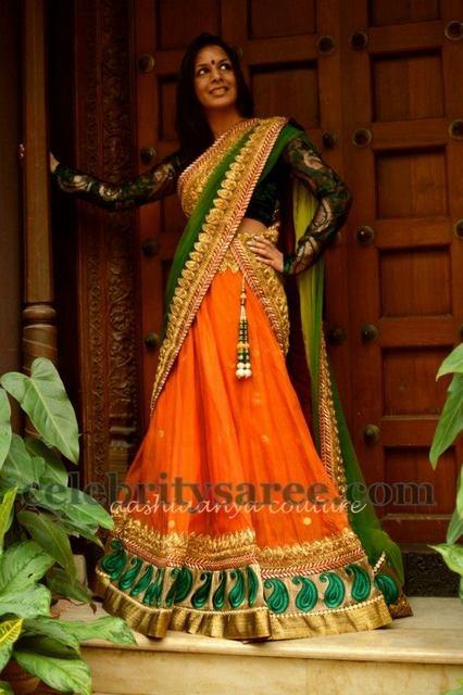 Heavy Work Sangeet Half Saree