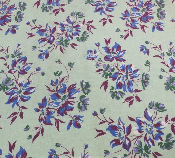 Vintage rayon floral fabric by RagRescue on Etsy
