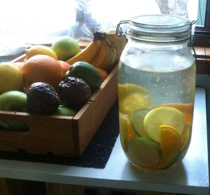 Detox water..Lots of citrus sliced and filled with water in the fridge.