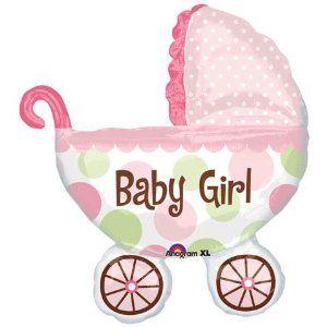 Girl Baby Shower Buggy Balloon Mylar Super shape