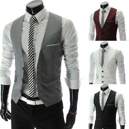 Men Formal Slim Fit Pocket Design Casual Fashion V Neck Vest Coat 4 Colors | eBay
