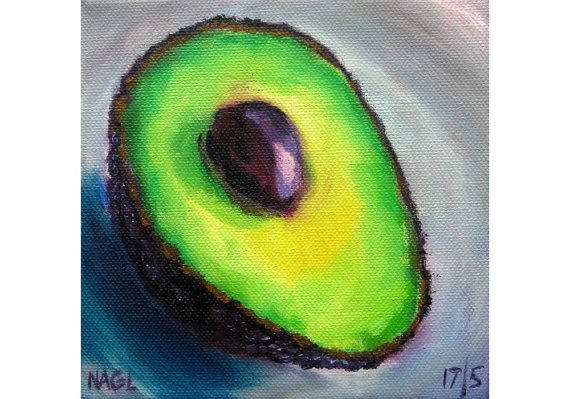 Avocado (May 2014) original oil painting still life on box canvas varnished on Etsy, £60.00