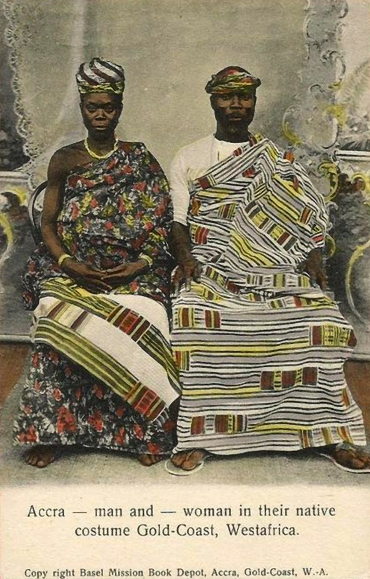 "Africa | ""Accra - A man and a woman in their native costume, Gold Coast"" 