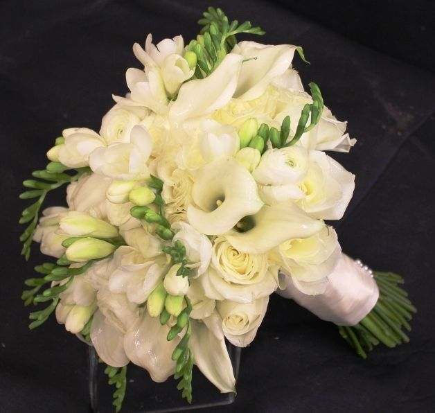 white rose and mini calla lily bouquet with  lavender | soft and delicate bouquet of white Mini Calla Lilies, Sweetheart Roses, freesia (add blue thistle ...