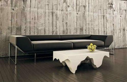 Moderne attraktive Couchtische fürs Wohnzimmer – 50 coole Bilder - trendy eigenartige kaffeetische dunkel sofa leder weiß