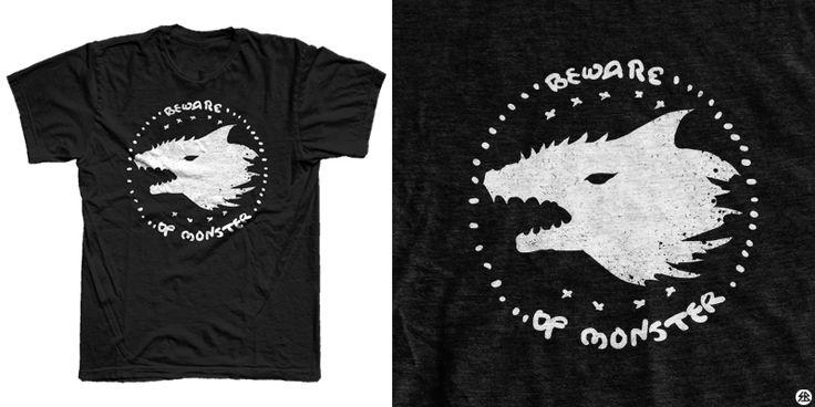 """""""Beware of monster"""" t-shirt design by sebrodbrick"""
