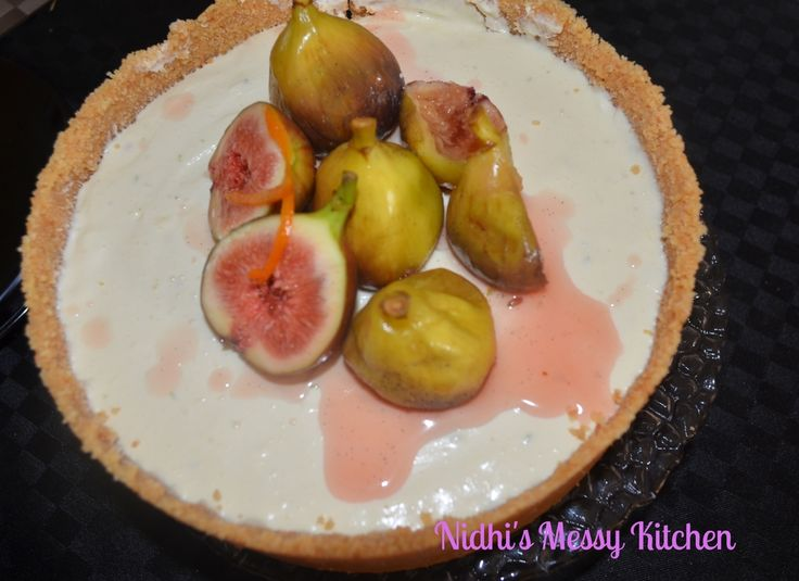 Lime Cheesecake with Spiced Pink Champagne poached Figs