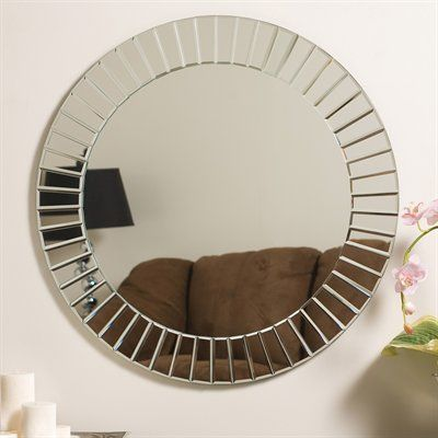 Decor Wonderland Bathroom Mirror SSM529 The Glow Modern Frameless Round Wall Mirror