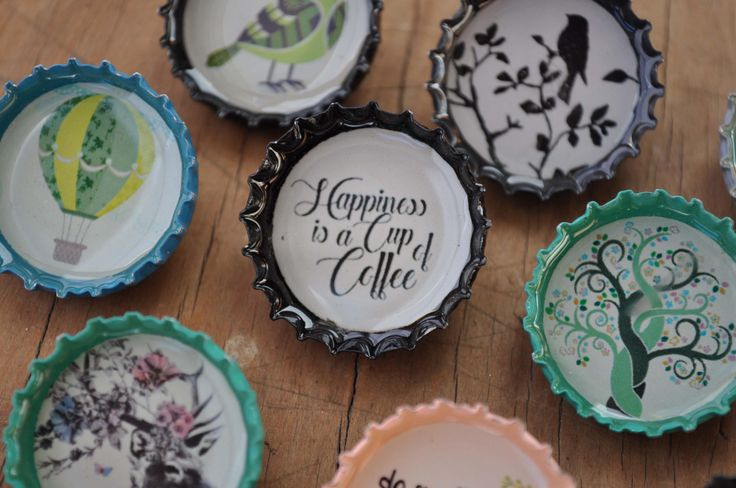 10 Hipster Recycled Beercap brooch pins; life is beautiful, birdie, rabbit, tree, coffee by MugaMugaSouthAfrica on Etsy