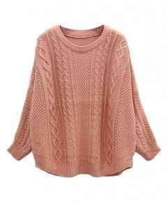 Batwing Sleeves Twist Knit Pullover