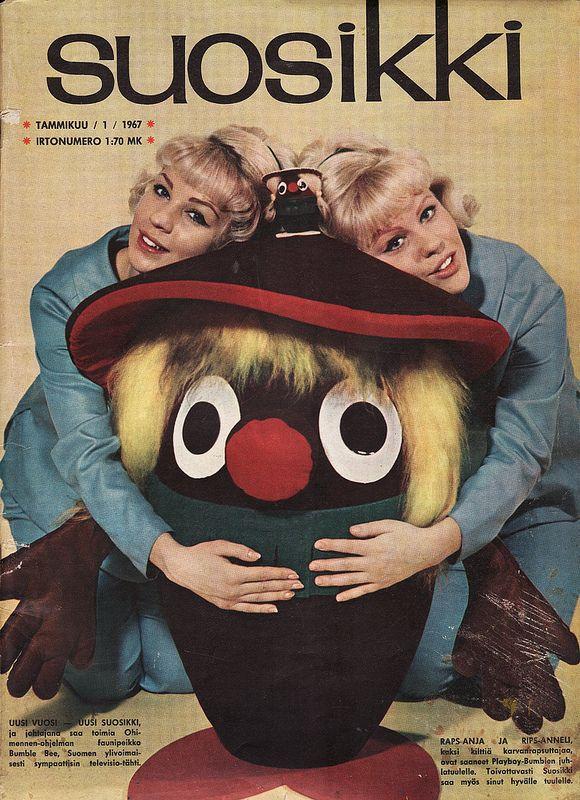 Suosikki 1/1967 In the cover: Anja, Anneli & Ohimennen-mascot Bumble Bee.