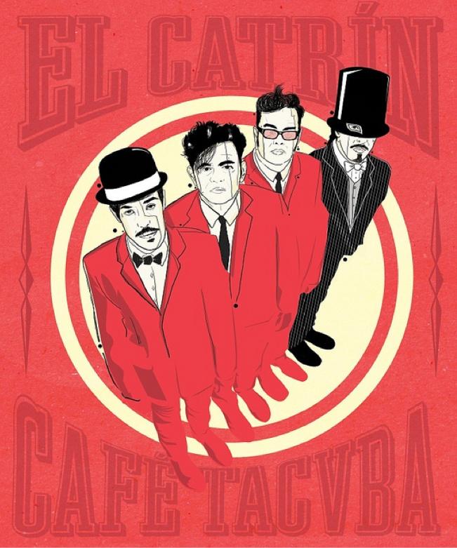 """Ilustración de """"El Catrín"""" de Cafe Tacuba, exposición: Seguiremos siendo."""