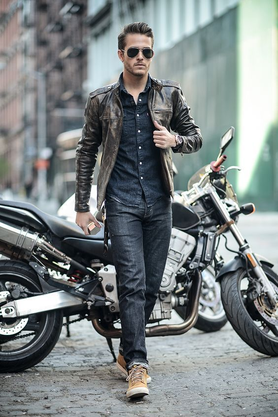 Brown Leather Biker jacket #thestylecity