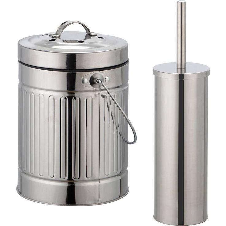 Foto 1 - Kit Lixeira Inox 3L + Conjunto De Escova Inox para Vaso Sanitário