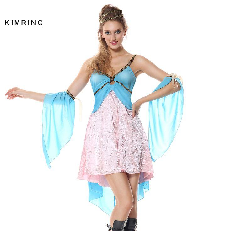 Alibaba グループ | AliExpress.comの 服 からの 3ピースゴールデン女神コスチュームはドレス集まった、ブルーオーガンザトップ付きo-リングディテール、ゴールドトリム、ゴールドスカートボトムで高/低裾、orgnazaアームバンドとゴールドロープヘッドピース。ブランド:kimrin 中の Kimringセクシーなギリシャ女神ハロウィン衣装ダンスパーティードレス衣装カーニバルナイトクラブ大人女神衣装ファンシードレス