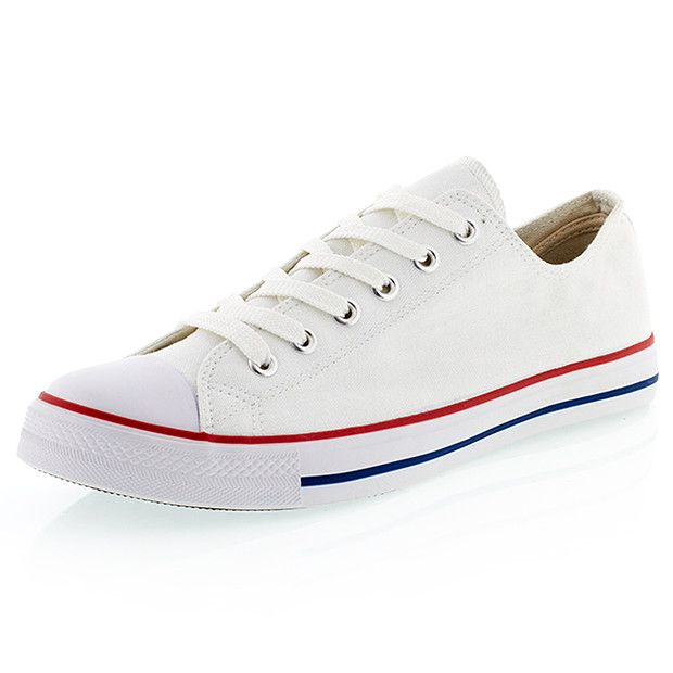 Add some casual style to your footwear collection with these canvas lace up shoes. They feature a padded innersole for comfort and a flexible outsole. Sizes 7-12.