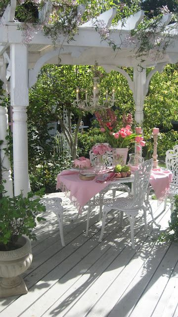 What a pretty place for a snack, a meal or just a glass of wine and some girl talk...: Ideas, Outdoor Living, Shabby Chic, Patio, Gardens, Pergola, Porches, Outdoor Spaces, Shabbychic