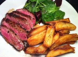 USDA Prime Striploin Steak with Bone Marrow Butter and Lard-Fried Triple-Cooked Chips