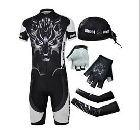 CHEJI Wolf Ghost Bicycle Cycling Short Jersey Kit Arm Warmers Sleeves Scarfs Gloves Bicicleta Ciclismo Road Bike Clothing Set
