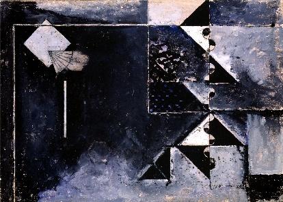 """Osvaldo Licini - """"Notturno"""", 1932-33  olio su tela,  cm 20,1 x 28,1  Mart, Collezione Giovanardi"""