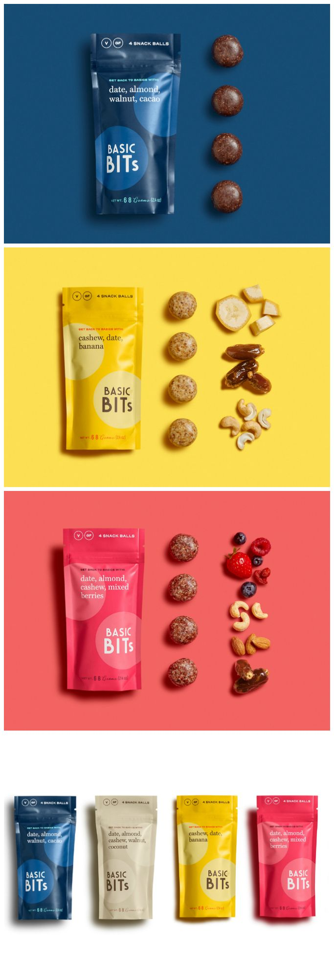 Florida Start-up has a No Fuss Approach to Brand Design and Packaging Designed by: Design Womb⠀ Project: Basic Bits Raw Snack Balls Category: #snacks #food