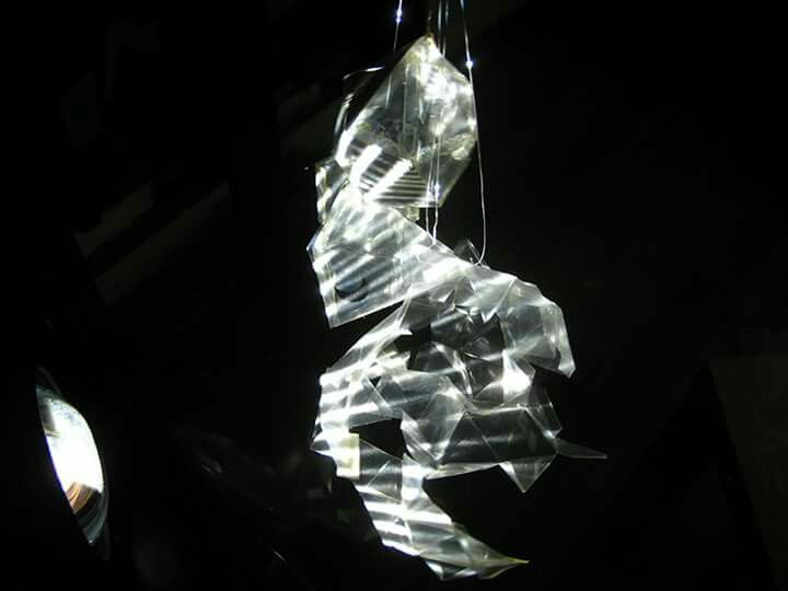 Light instalation - projector and plastic