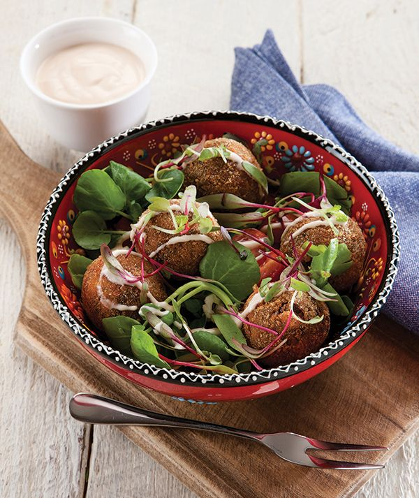 Tasty Lentil Balls served with a salad and drizzled with Spur's Sweet Chilli Dressing. http://www.spur.co.za/sauces/recipes/lentil-balls