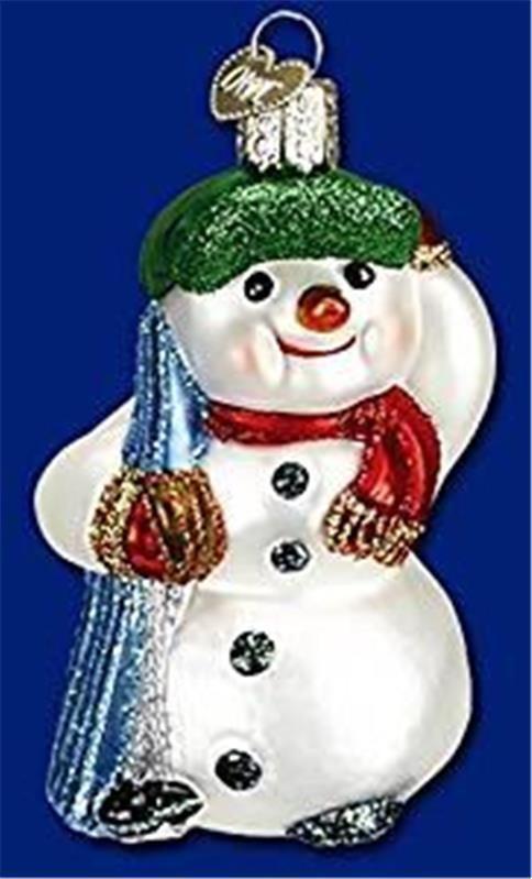 Snowman w/ skis old world christmas glass ski sport snow ornament