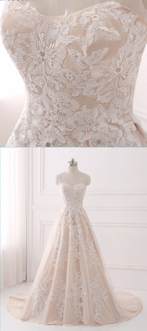 Sweetheart Light Champagne Tulle A-line Long Train Prom Dress With Appliques – Carmen