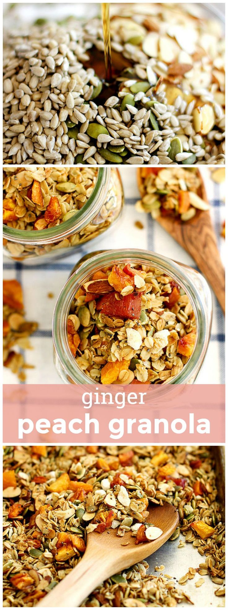Ginger Peach Granola -- Crunchy maple-baked homemade granola flavored with sweet dried peaches and crystallized ginger. girlversusdough.com @girlversusdough
