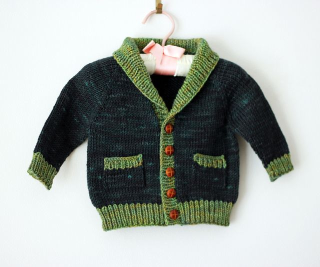 Gramps cardigan in Tanis Fiber Arts Green Label Aran in Spruce and Sprout