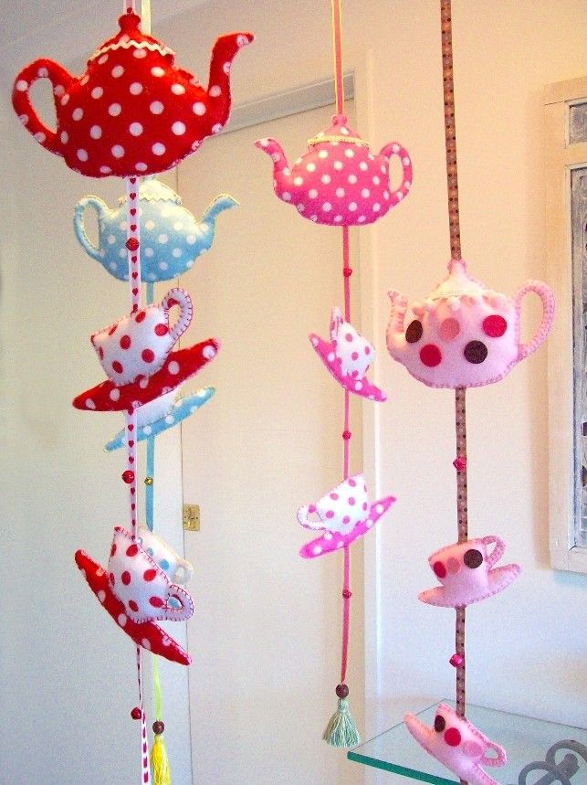 Nursery Mobile I'm a Little Teapot red spotty by lilliputloft, Xicara, Bule, Leiteira, Tecido