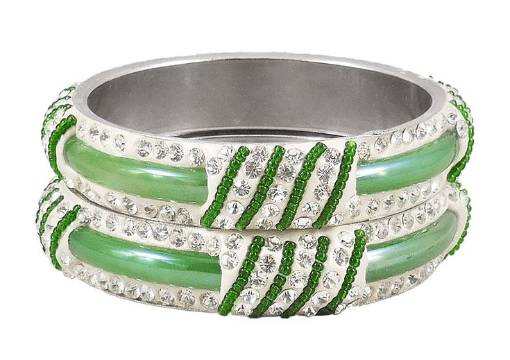 Pair of Light Green Metal Bangles with Stone and Beads (Stone and Metal)