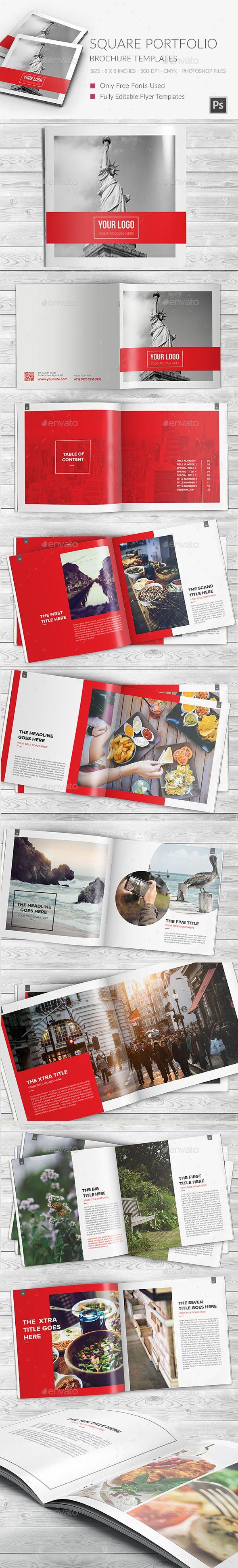 Square Portfolio Brochure Template Template #design #printdesign Download: http://graphicriver.net/item/square-portfolio-brochure-template/12086827?ref=ksioks