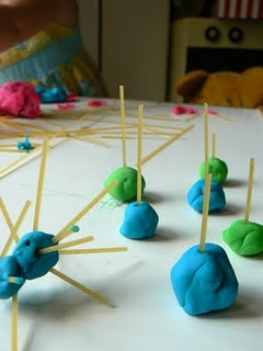 add spaghetti to the playdough table