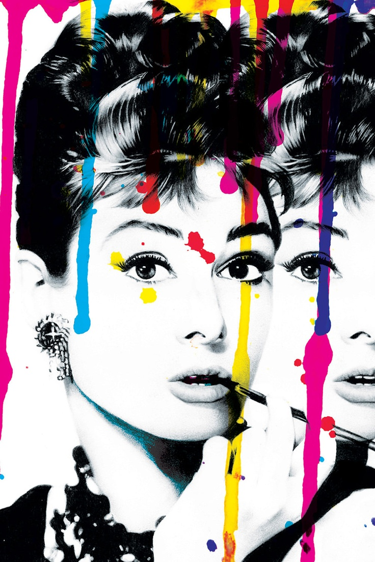 24x36 hand signed abstract audrey hepburn pop art on rolled canvas.