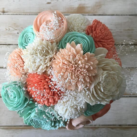 Coral And Mint Wooden Flower Bouquet - Sola Flower Bouquet - Wedding - Bridesmaid - Home Decor - Novelty Gifts - Bellini