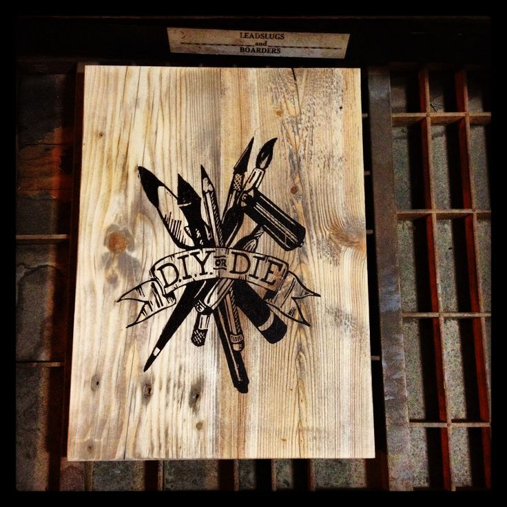 FINN & BURNSIE - Lino cut on reclaimed wood. D.I.Y. OR DIE