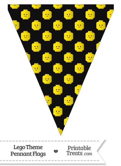 Black Lego Theme Pennant Banner Flag from PrintableTreats.com