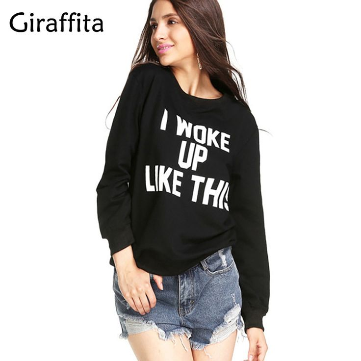 "Giraffita Harajuku Style Letter Print Sweatshirt ""i Woke Up Like This"" Beyonce Song Element Women Hoodie Hip Hop Cloth #Affiliate"