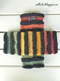 Restgarner som förvandlades till mysiga handledsvärmare i härliga höstfärger. De är stickade över 35 maskor med strumpstick...