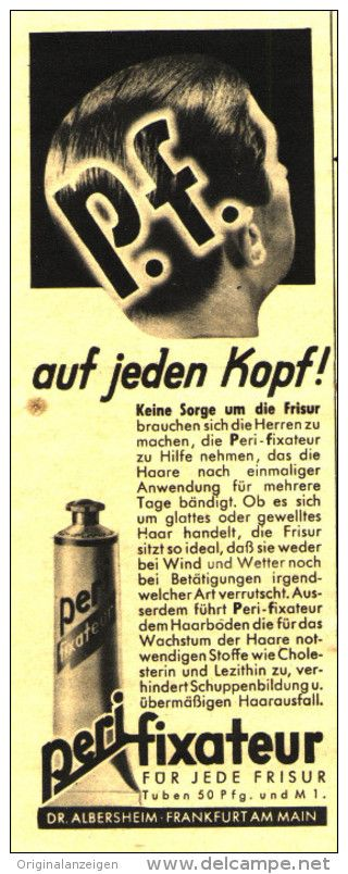 Original-Werbung/ Anzeige 1937 - PERI HAAR- FIXATEUR / DR. ALBERSHEIM FRANKFURT a.M.  - ca. 55 x 160 mm