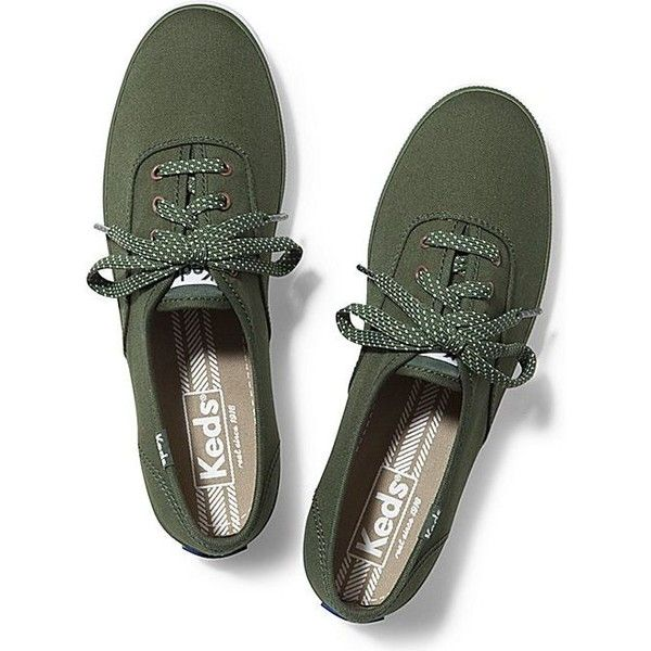 Keds Champion Micro Dot Lace ($45) ❤ liked on Polyvore featuring shoes, sneakers, flats, forest green, green sneakers, lace shoes, multicolor sneakers, keds shoes and green shoes
