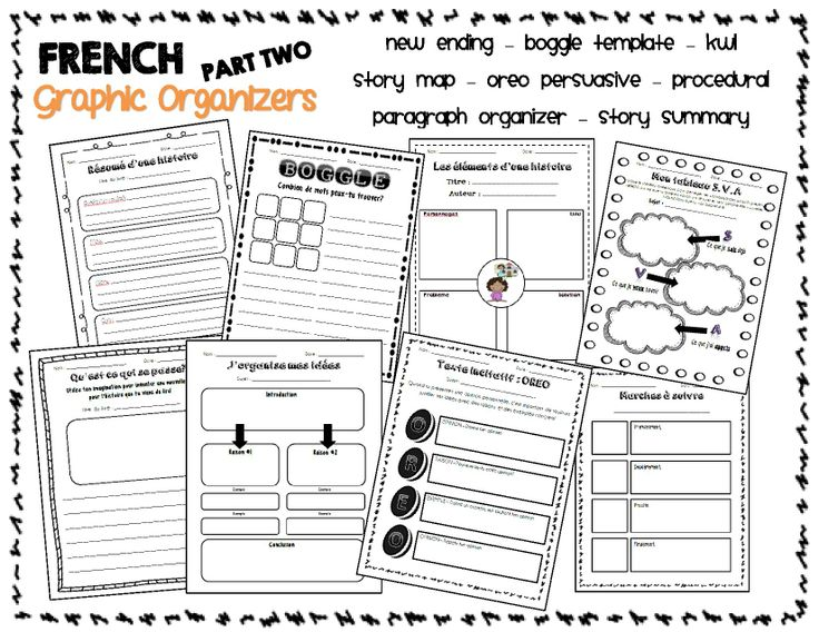 AWESOME Graphic Organizer Bundle for a French Immersion Classroom!! Reading, writing, Boggle...